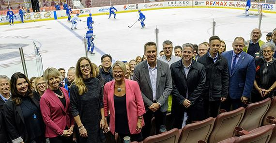 Minister of Mental Health and Addictions Judy Darcy and Gregor Robertson at Vancouver Canucks game