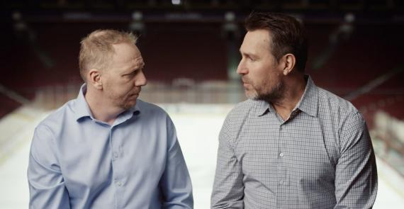 Vancouver Canucks Alumni, Corey Hirsch and Kirk McLean, talking to each other about men's mental health.