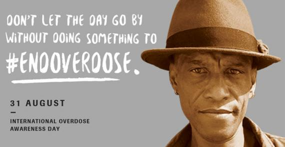 International Overdose Awareness Day graphic featuring a hopeful man and the hashtag #EndOverdose