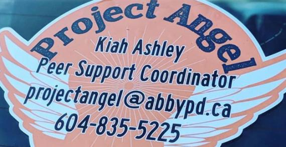 Project Angel logo and peer support coordinator contact details